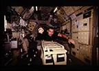 STS-65 Mission Specialist Walz in IML-2 Spacelab aboard Columbia, OV-102
