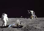 Astronaut Buzz Aldrin walking on the Moon