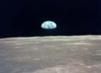 View of Earth Rising Over Moon