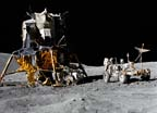 "View of the Lunar Module ""Orion"" and Lunar Roving Vehicle during first EVA"