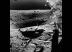 Astronaut John Young on rim of Plum crater gathering lunar rock samples