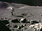 Apollo 17 Astronaut Walking on the Lunar Surface