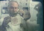 Astronaut Edwin Aldrin Makes a Sandwich in Zero Gravity